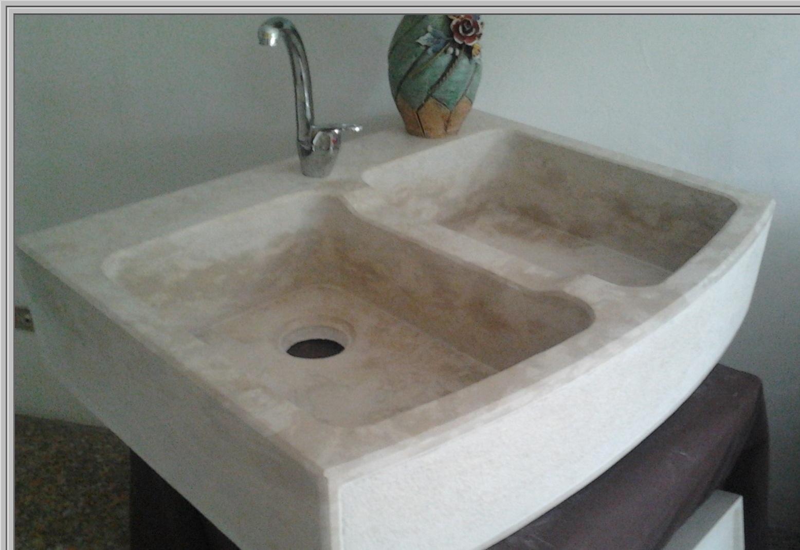 Lavelli marmo lavello marmo scavato cucina esterno - Top in marmo per cucine prezzi ...
