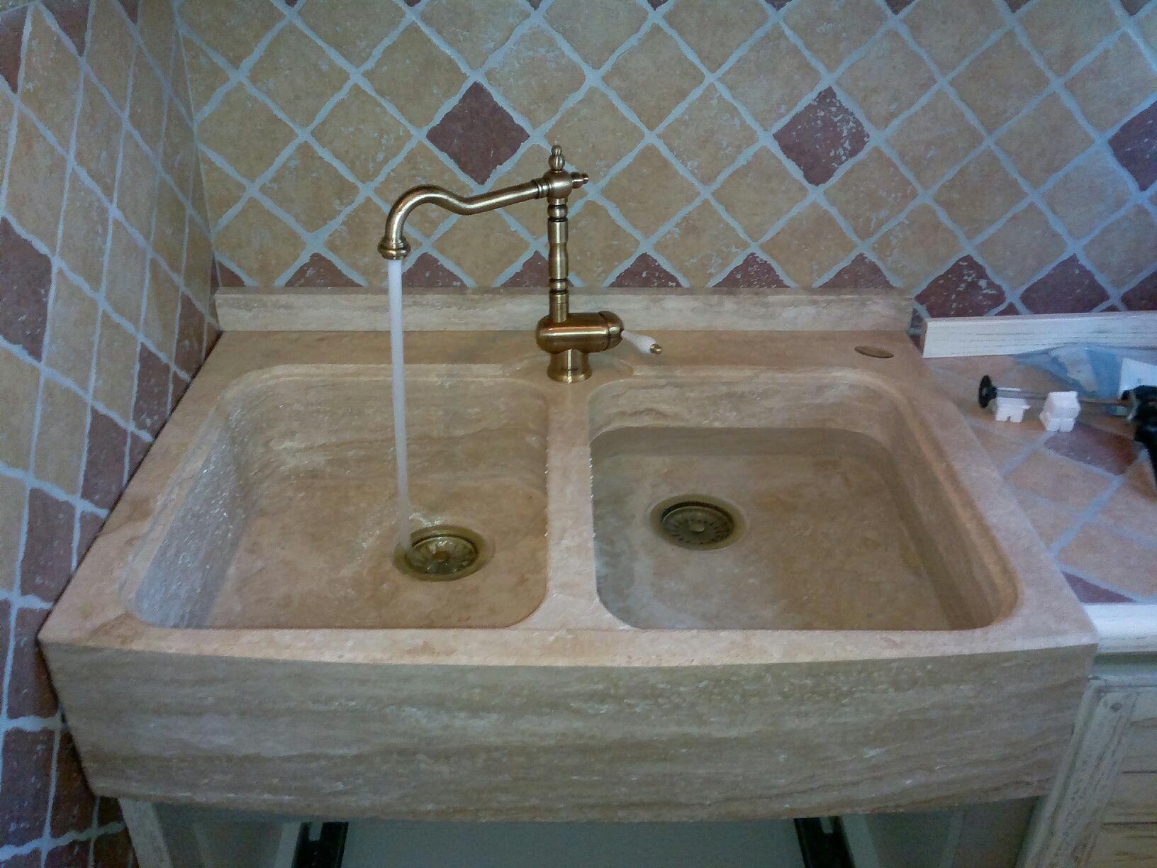 Lavandino lavello acquaio in travertino cucina taverna ebay - Lavandini x cucina ...
